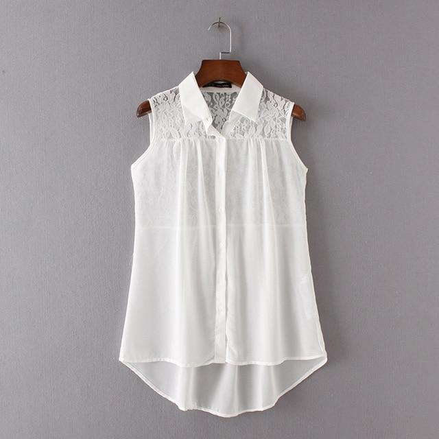 2018 Summer New Women Blouses Chiffon White Girls Clothes Long Blouse sleeveless shirt WCS36207-noashe