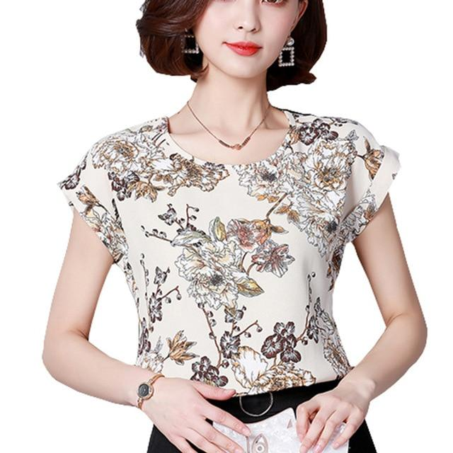 2018 Women Summer Tops Chiffon Blouses And Shirts Ladies Floral Print Blouse Short Sleeve Plus Size Tops Casual Blusa Feminina-noashe