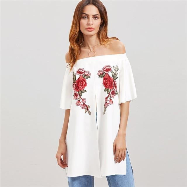 COLROVIE 2018 New Floral Off Shoulder Embroidered Applique Split Front Women Top Summer Half Sleeve Vacation Blouse-noashe