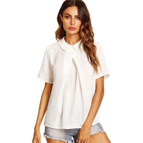 SHEIN White Overlap Fold Plain Top Women Peter Pan Collar Short Sleeve Button Soild Blouse 2018 Summer Weekend Casual Blouse-noashe