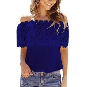 Summer Hot Lace Stitching Women Blouse Shirt Plus Size 5XL 6XL Tops Tee Hook Flower One Word Led Chemise Femme-noashe