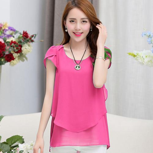 2018 Women Summer Blouses Shirts Short Sleeve Chiffon Blouse M-5XL Plus Size Women Clothing Ladies Fashion Tops Blusas Femininas-noashe