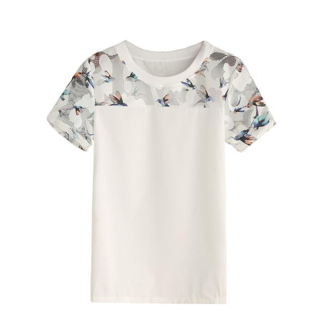 ROMWE White Bird Print Mesh Insert Top Women Summer Casual Blouses and Tops Round Neck Short Sleeve Slim Blouse-noashe