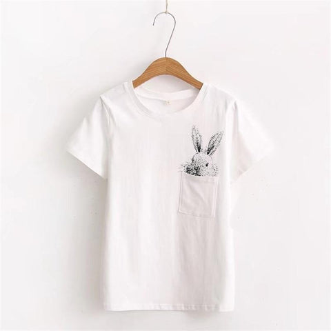 ZZSYKD 2018 Women Summer Tops Cotton Blouses Shirts Ladies Rabbit Print Feminine Blouse Short Sleeve Blusas White Top Female