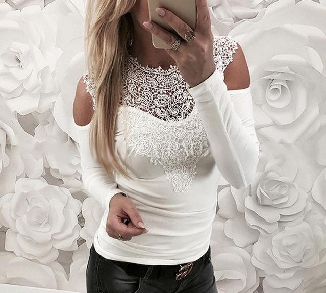 New Spring Sexy Lace Blouses Shirts Women Patchwork Off Shoulder Tops 2018 Blusas 4 Colors Slim Party Womens Blouse-noashe