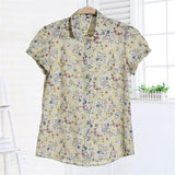 Dioufond Women Summer Tops Plus Size Short Sleeve Shirt Beach Cotton Floral Blouse Turn Down Collar Shirt Blusa Women Casual Top-noashe