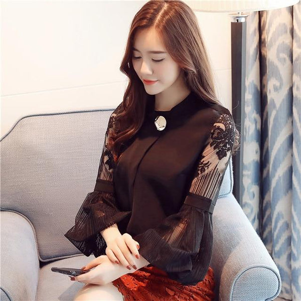 2017 new autumn lantern sleeve women's clothing sexy chiffon women blouse shirt casual loose stand neck women tops blusas D79 30