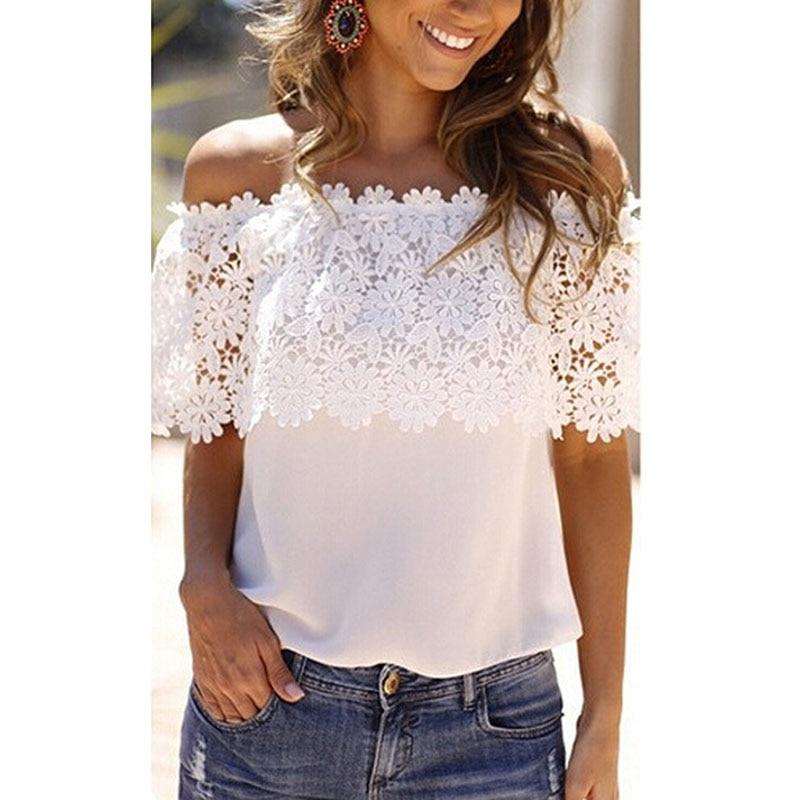 Summer Women's Off The Shoulder Casual Tops petal sleeve Blouse Lace Floral Chiffon F05-noashe
