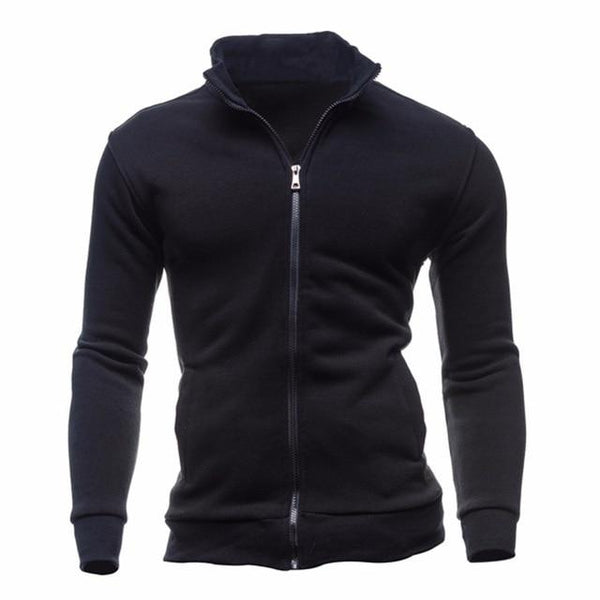 LeeLion 2018 New Hoodies Men Fleece Zipper Sweatshirts Autumn Spring Stand Collar Sportswear Slim Male Solid Hip Hop Tracksuit-noashe