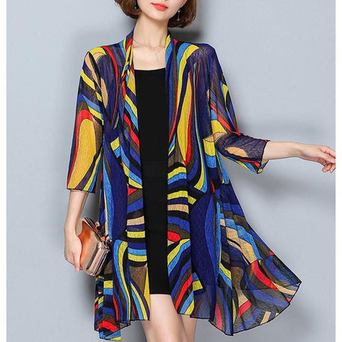 MISSFEBPLUM Summer 2018 Women Blusas Casual Loose Long Chiffon Kimono Cardigan Feminino Long Sleeve Beach Cardigans Plus Size