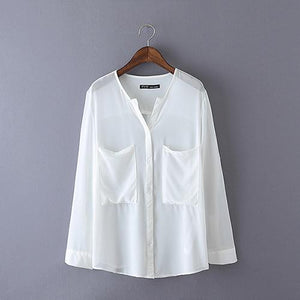 Spring 2018 Women White Shirt Women Chiffon Shirt Tops For Women Chiffon Blouse Shirt Summer Blouse Women OL Summer WCS7579-noashe