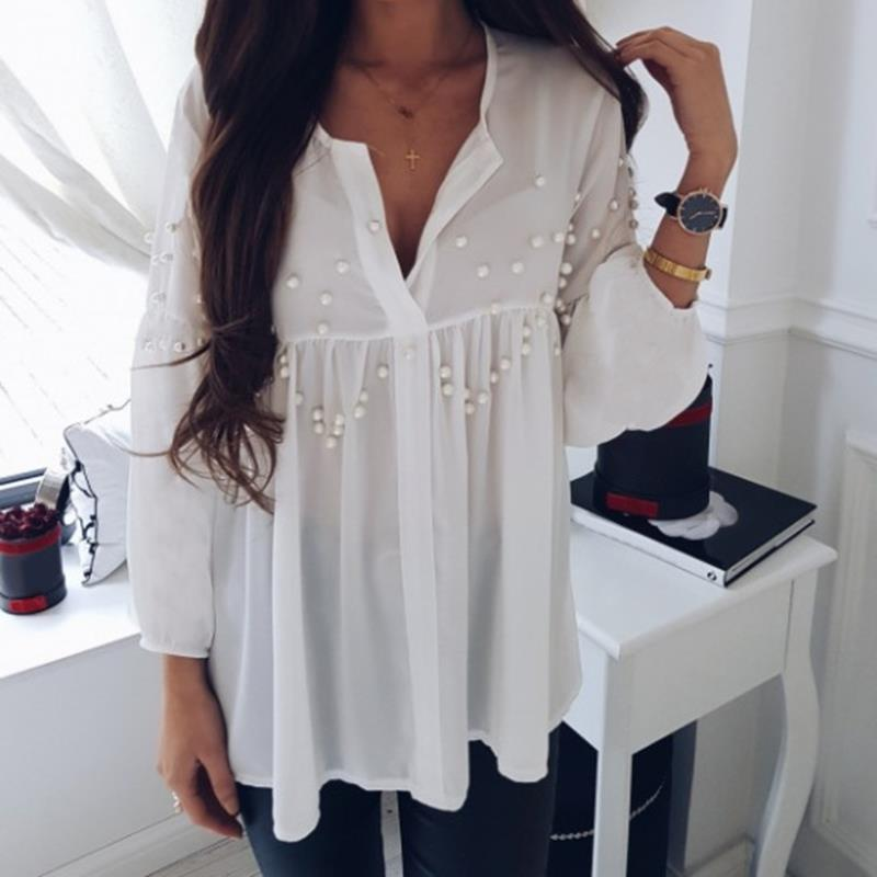 Women's white blouse shirt Pearl beading new 2018 Spring Summer blusas camis femme off lady fashion shirts WS6098y-noashe