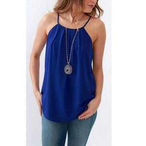 Summer Womens Lady Tops Casual Chiffon Vest Tops Tank Solid Blue Camis Blouse Sleeveless Women Lady Clothing Summer-noashe