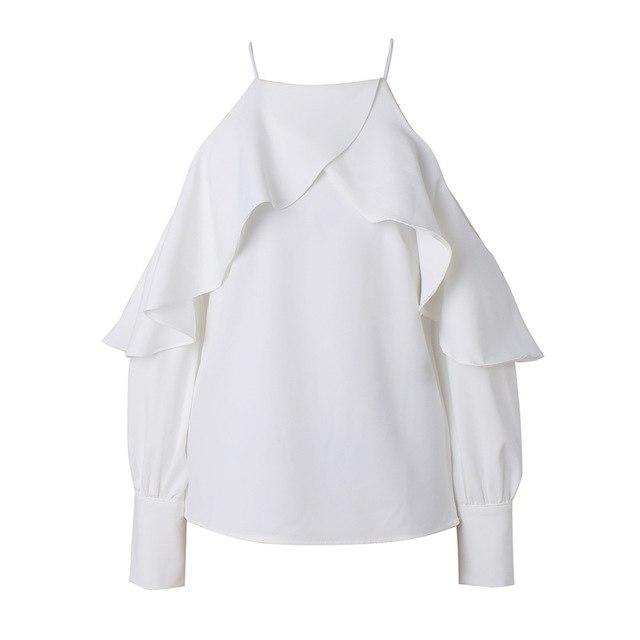 Bella Philosophy 2018 new spring summer ruffle blouse shirt halter neck cami cold off shoulder top women chiffon blusa feminina-noashe
