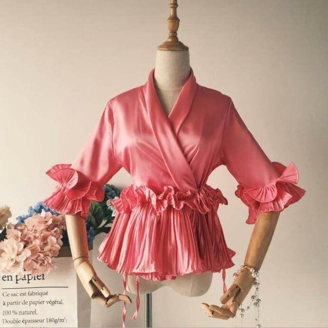 3D Flowers V-neck Bow Chiffon Shirt pleated ruffled Lace Blouses Women three quarter Sleeve deep Tops Ribbon tie 2018 spring-noashe