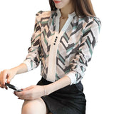 2017 new long sleeve women's clothing OL blouse v-neck printed chiffon women blouse shirt slim striped women tops blusas D211 30