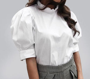 TWOTWINSTYLE Puff Sleeve Shirt Female Ruffles Stand Collar Short Sleeve Large Size White Blouse Summer Sweet New 2018 Clothing-noashe