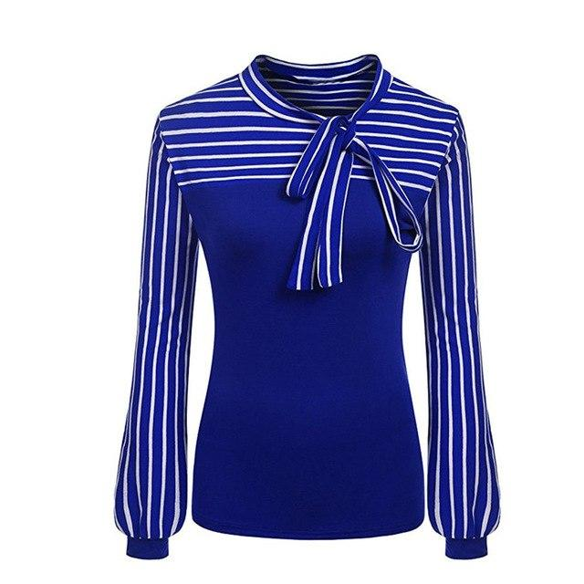 JAYCOSIN 2018 Blouses Women Office Lady Fashion Lace up Striped Shirt Long Sleeve Work Out Blouse j23-noashe
