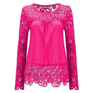 Plus Size 6XL 7XL Womens Tops and Blouses Chiffon Shirts Long Sleeve Tops Lace Blouses Hollow Out Crochet Summer Top 2018 Korean-noashe