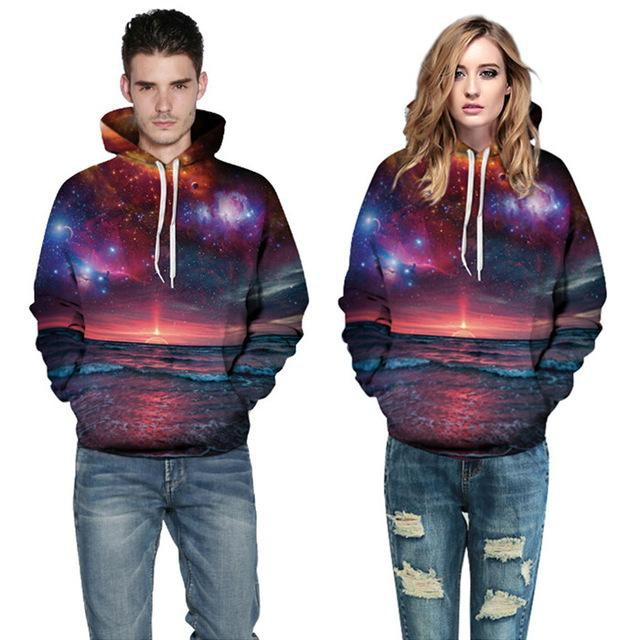 2018 Hot search New Fashion 3D Hooded print Man Woman hoodies ocean Fashion Club hoodie pullover sweatshirts-noashe