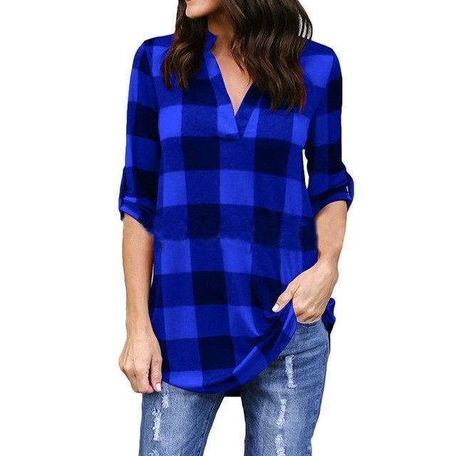 Plus Size 5XL Women Tops and Blouse Casual Loose Long Sleeve V-neck Plaid Summer Top Korean Clothes Befree Boho Women Blouses-noashe