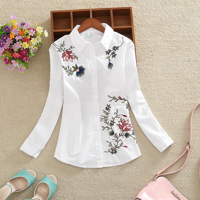 New 2018 long sleeves OL women shirt fashion large size casual loose flowers embroidered women blouse top blusas 20H 35-noashe