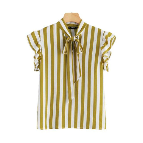 SHEIN Vertical Striped Bow Tie Neck Top Women Stand Collar Butterfly Sleeve Chiffon Blouse 2018 Summer Elegant Workwear Blouse-noashe