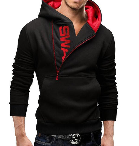 Side zip hit color Fashion Hoodies Men Hip Hop Mens Brand Solid hooded zipper Hoodie Cardigan Sweatshirt Slim Fit Men Hoody