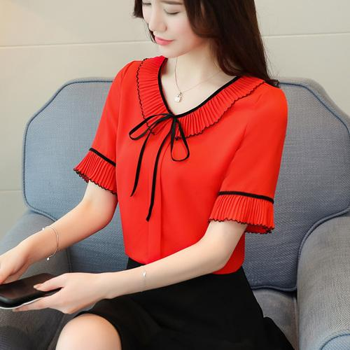 new chiffon women blouse shirt fashion 2018 plus size short sleeve red women's clothing bow v-neck feminine tops blusas D620 30-noashe