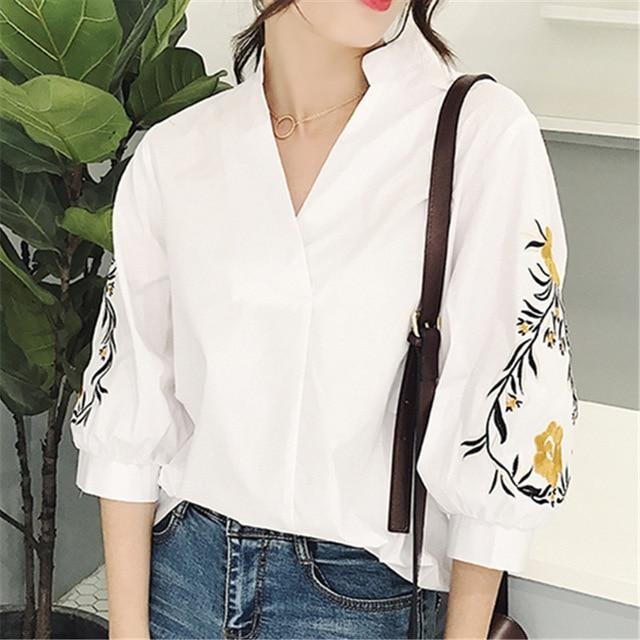 Summer Women Sleeve Flowers embroidered Shirt Womens Streetwear Clothing femme blusas striped shirts blouse top 2018 Spring-noashe