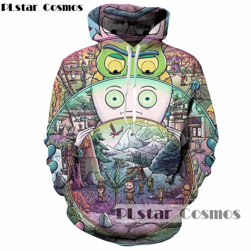 PLstar Cosmos rick and morty Hoodies brand Hooded Men/Women Hat 3d Sweatshirts Cartoon Print Autumn Hipster Sweatshirts-noashe