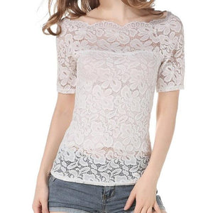 fashion Summer 2018 Women Blouses Off Shoulder White Lace Blouse Chiffon Long Sleeve Women Shirts TT322-noashe