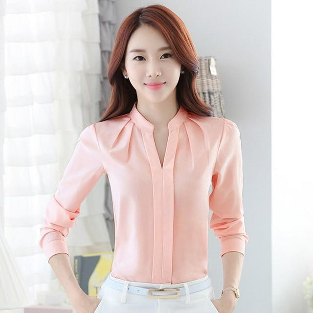 FGLAC Chiffon blouses New 2018 Women shirt Fashion Casual Long-sleeved chiffon shirt Elegant Slim Solid color lady blusas shirt-noashe