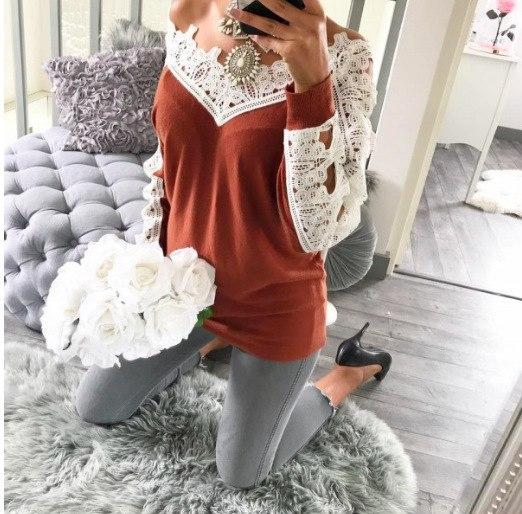 Women Casual Long Sleeve New Lace Blouses 2018 Autumn Winter Elegant Blusa Crochet Hollow Out Solid Shirts Tops Plus Size GV1028-noashe
