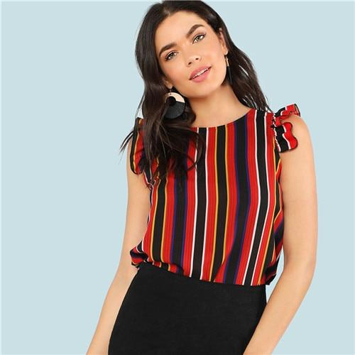 SHEIN Vertical Striped Cap Sleeve Casual Polyester Women Tops and Blouses 2018 Summer O-Neck Blouses Ruffle Sleeve Chiffon Top-noashe