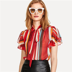 SHEIN Flutter Sleeve Tied Neck Striped Blouse 2018 Summer Stand Collar Short Sleeve Casual Top Women Multicolor Workwear Blouse-noashe