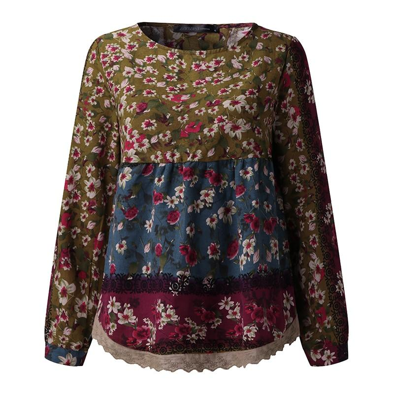 2018 Spring Plus Size Women ZANZEA Blouse Floral Print Cotton Linen Long Sleeve O Neck Lace Crochet Casual Pullover Blusas-noashe