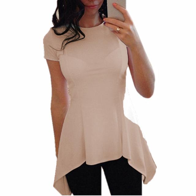 9 Colors S-4XL Celmia Plus Size Blusas 2018 Summer Tops Women Short Sleeve Blouse Sexy Tunic Peplum Slim Fitness Casual Shirt-noashe