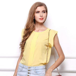 Hot Women Chiffon Blouses Summer Shirts O-neck Ruffled Pleated Sleeve Strap Solid Tops Blouses Casual Ladies Solid Shirt Blusas-noashe