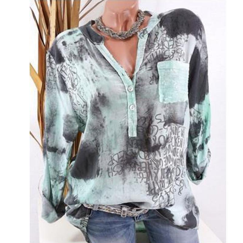 Big Yard Fashion Pocket Printed Shirts Women V Neck Buttons Casual Female Blouses Ladies Tops 2018 Spring Plus Size Clothing-noashe