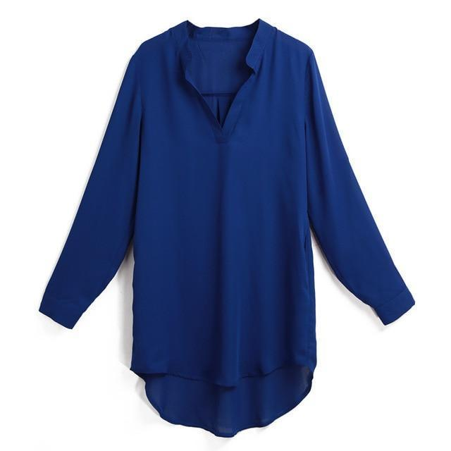 Plus Size 5XL Women Tops and Blouse Shirt V Neck Pockets Roll Up Long Sleeve Chiffon Shirt Solid Loose Summer Top Tunic Korean-noashe