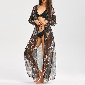 Women Long Chiffon Kimono Cape Floral Print Cardigan Blusa Feminina Casual Shirts Jackets Long Beach Cover Up Top Blusa Feminina-noashe