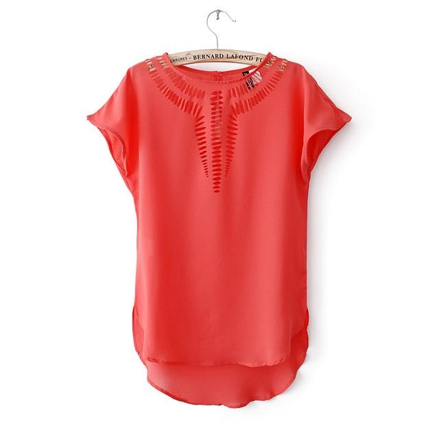 2018 New Casual Top Chiffon Tees Blouse fashion Hot sales women shirt hollow laser engraving summer clothes#6686-noashe