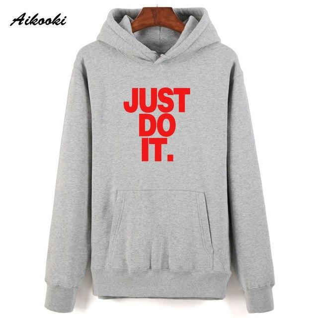 Aikooki New Just Do It Sweatshirt Hoodies Pullover Harajuku Men Cap Clothing Just Do It Hoodie Cotton Streetwear Fashion Design-noashe