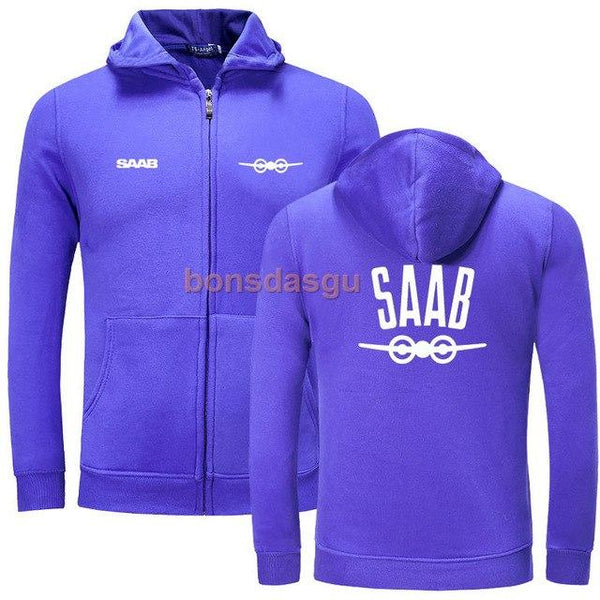 Cardigan New SAAB LOGO zipper hoodies men Zipper Sweatshirt Hoodies Mens scania truck logo zipper Hooded Plus size Coat Jacket-noashe
