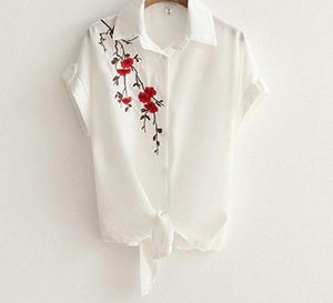 Embroidery Knotted Hem White Shirt 2018 Summer Drop Shoulder Short Sleeve Top Women Casual Loose Turn-down Collar Beach Blouses-noashe
