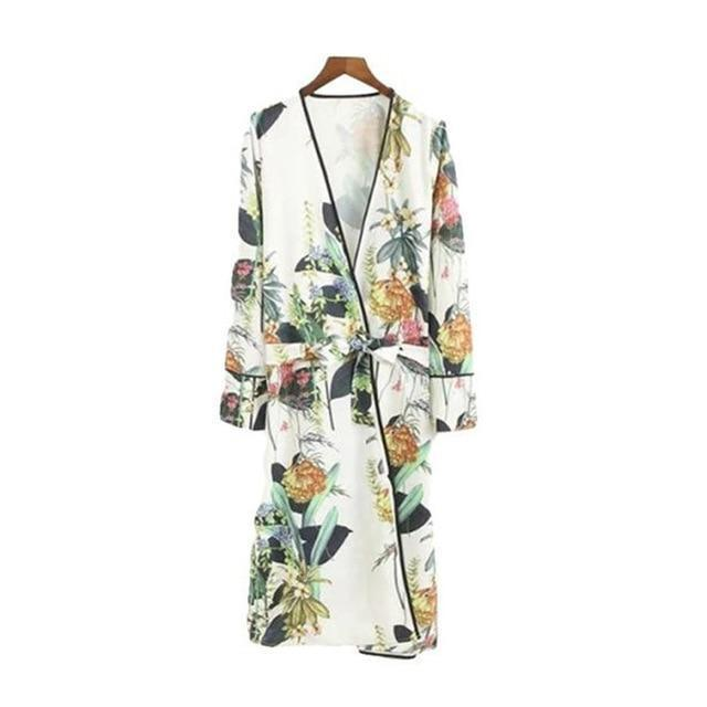 Free Ostrich 2018 Women Long Kimono Feminino Cardigan Robe Floral Coat Sashes Long Sleeve Outerwear Ladies Long Tops Sep6-noashe
