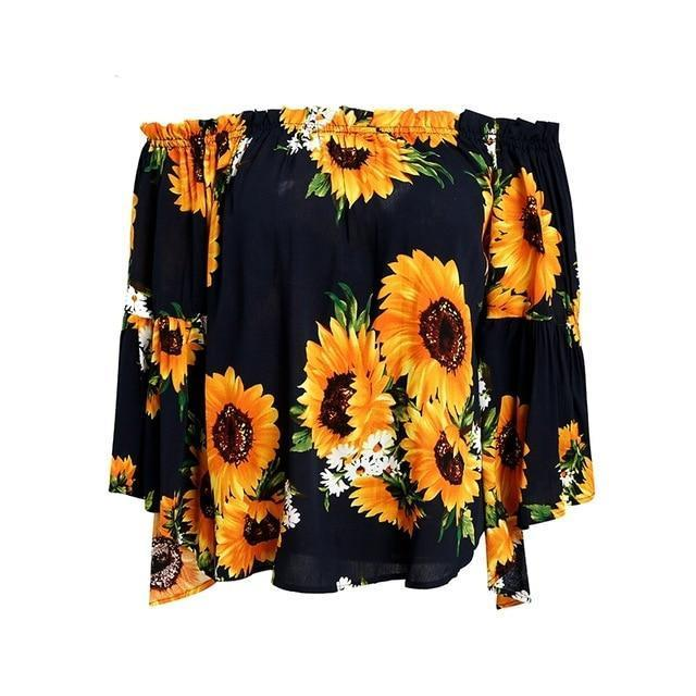 Simplee Off shoulder floral print blouse women Flare sleeve bohemian beach blouse shirt Casual blusas summer tops tees 2018-noashe