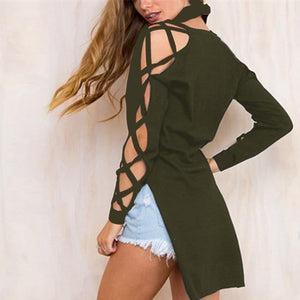 Plus Size Women Blouse Sexy Bandage Hollow Out Long Sleeve Shirt 2018 Summer Autumn V Neck High Low Split Tops Club Party Blusas-noashe