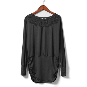 Women Lace Stitching Chiffon Blouses Loose Type Slash Neck Shirts Solid Color Three Quarter Sleeve Women Autumn Blouse Women Top-noashe